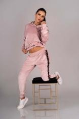 Dres Bluza i Spodnie z Pluszu - Pudrowy