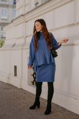 Komplet - Sweter z Golfem i Dopasowana Spódnica - Jeans