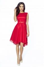 Zwiewna Czerwona Galowa Sukienka z Kokardką
