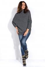 Grafitowy Sweter z Niskim Golfem