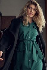 Koszulowa Sukienka z Kieszeniami Zapinana na Zatrzaski - Zielona