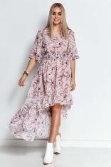 Wzorzysta Asymetryczna Sukienka z Falbankami - Wzór 21