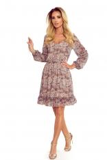Zwiewna Sukienka w Serek z Wzorem Boho