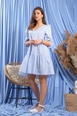 Zwiewna Błękitna Sukienka w Białe Kwiatki