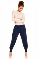 Granatowe Eleganckie Spodnie Typu Pumpy