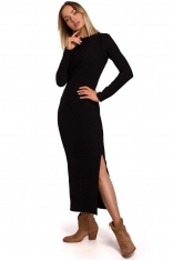Czarna Prążkowana Maxi Sukienka z Rozcięciem
