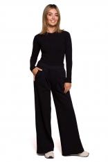 Dresowe Spodnie z Prostymi Nogawkami - Czarne