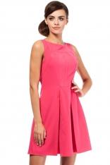 Różowa Efektowna Sukienka bez Rękawów z Szerokim Dołem