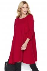 Czerwona Wizytowa Sukienka Trapezowa z Rękawem ¾