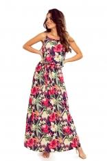 Długa Sukienka na Ramiączkach z Florystycznym Motywem - Czerwony