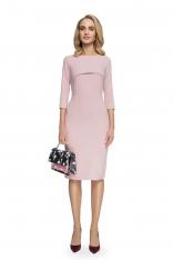 Ołówkowa Sukienka Midi z Narzutką - Pudrowa