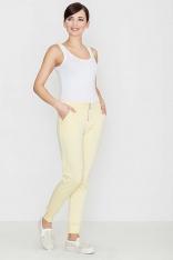 Żółte Komfortowe Spodnie ze Złotym Suwakiem