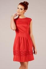 Czerwona Wizytowa Subtelna Sukienka z Koronką bez Rękawów