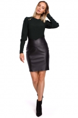 Czarna Dopasowana  Spódnica Mini z Eko-skóry
