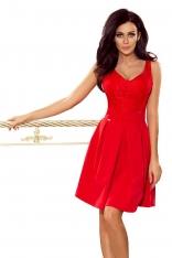 Czerwona Koktajlowa  Rozkloszowana Sukienka z Koronką