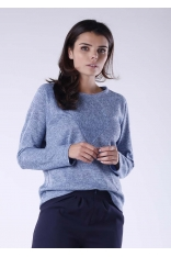 Jasno Niebieski Melanżowy Kimonowy Sweter z Ozdobnym Przeszyciem