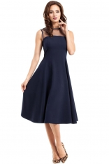 Granatowa Sukienka Midi z Transparentnym Karczkiem bez Rękawów