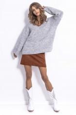 Ecru Lekki Oversizowy Sweter z Rozszerzanymi Rękawami