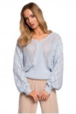 Ażurowy Sweter z Nietoperzowym Rękawem - Błękitny