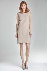 Beżowa Mini Sukienka z Rozcięciem przy Dekolcie bez Rękawów