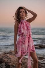 Różowa Luźna Sukienka Szyfonowa na Stójce