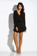 Czarna Sukienka z Naszytymi Falbankami