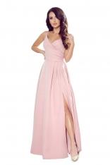 Maxi Sukienka na Ramiączkach z Kopertowym Dekoltem - Różowa