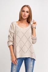 Oversizowy Beżowy Sweter Ażurowy z Dekoltem V