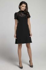 Czarna Wizytowa Rozkloszowana Sukienka z Koronką