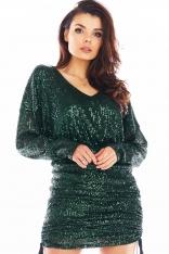 Cekinowa Sukienka Kimonowa z Marszczonym Dołem - Zielona