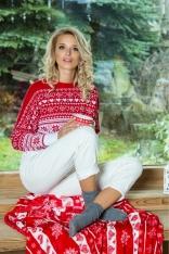 Biało Czerwony Nietoperzowy Sweter w Skandynawskie Wzory