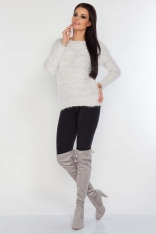 Beżowy Sweter Melanżowy z Włosem