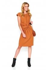 Kamelowa Dresowa Sukienka Midi z Ozdobnym Przełożeniem