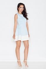 Niebieska Letnia Sukienka z Rozkloszowanym Dołem z Kontrastową Lamówką