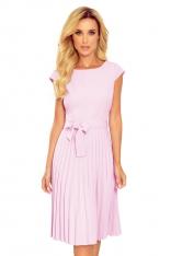 Elegancka Sukienka z Plisowanym Dołem - Wrzosowa