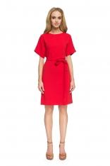 Czerwona Dopasowana Sukienka z Dekoltem na Plecach