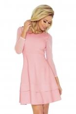 Jasnoróżowa Sukienka Wizytowa Rozkloszowana z Transparentnymi Rękawami
