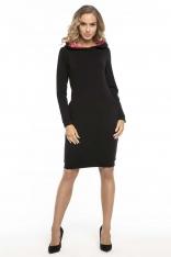 Czarno Różowa Sportowa Sukienka z Kapturem