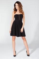Czarna Dzianinowa Sukienka z Odkrytymi Ramionami z Suwakiem