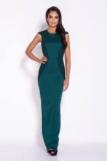 Zielona Elegancka Długa Sukienka z Wycięciem na Plecach