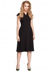 Czarna Sukienka Koktajlowa Midi z Zaznaczoną Talią