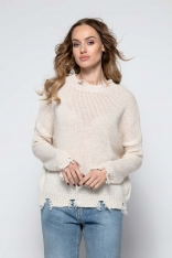 Wygodny Casualowy Sweterek z Rozdarciami - Beżowy