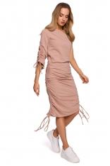 Sukienka Dzianinowa na Jedno Ramię - Mocca