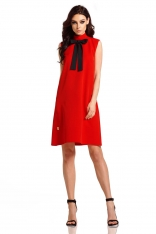 Czerwona Trapezowa Sukienka bez Rękawów z Kokardą