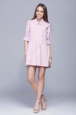 Różowa Koszulowa Sukienka z Podpinanym Rękawem