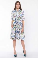 Zwiewna Sukienka Koszulowa w Liście z Falbankami