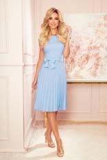 Elegancka Sukienka z Plisowanym Dołem - Jasny Błękit