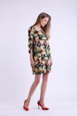 Kwiatowa Krótka Dzianinowa Sukienka z Kieszeniami