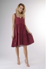 Czerwona Zwiewna Letnia Sukienka z Falbankami