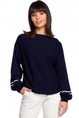 Granatowy Nietoperzowy Sweter z Bufiastym Rękawem z Lampasami